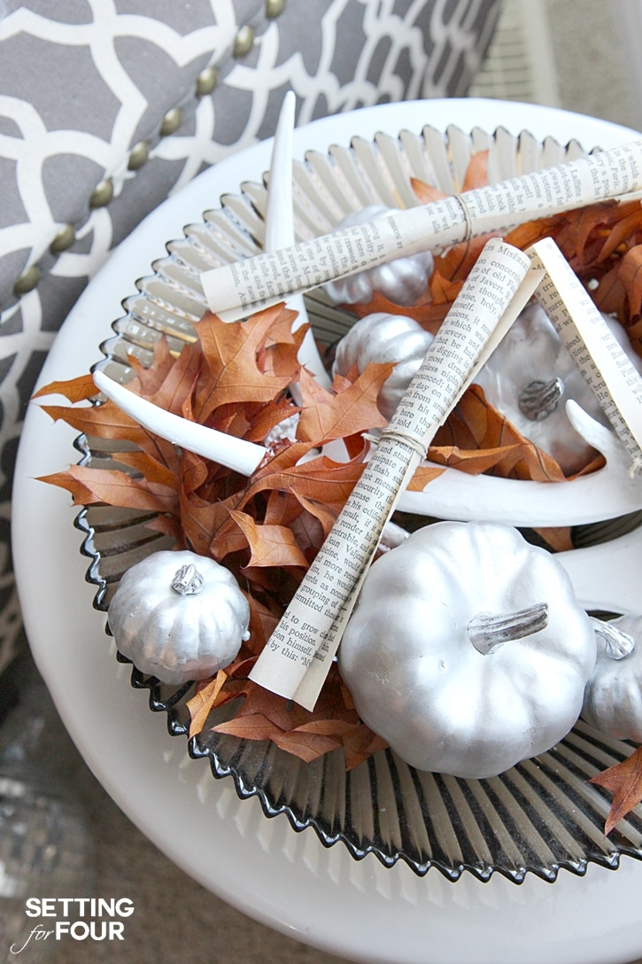 DIY Quick and Easy Fall Centerpiece decor idea using items you have at home. www.settingforfour.com
