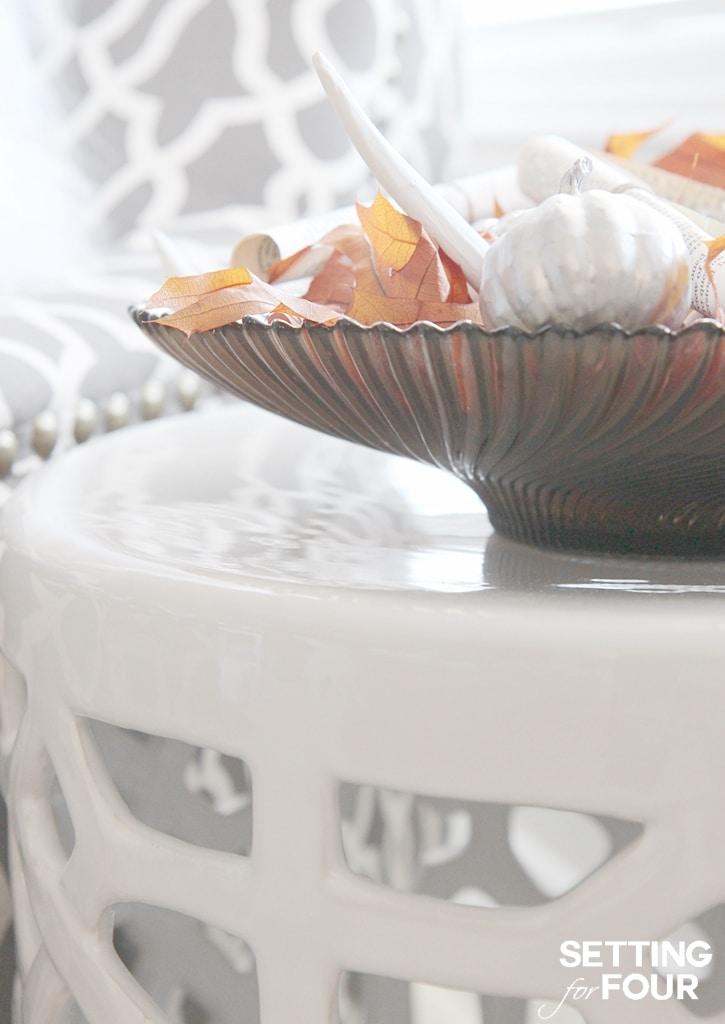 DIY Fall Centerpiece decor idea using items you have at home. www.settingforfour.com