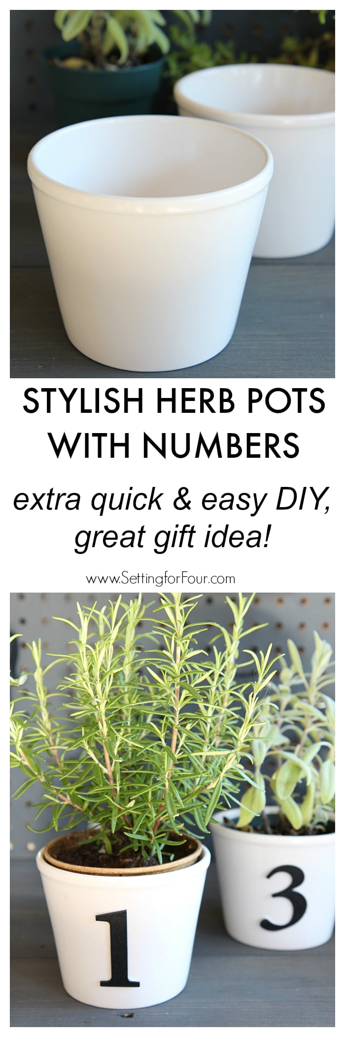 Stylish Herb Pots with Numbers - extra quick and easy DIY decor idea. Great gift idea too! www.settingforfour.com