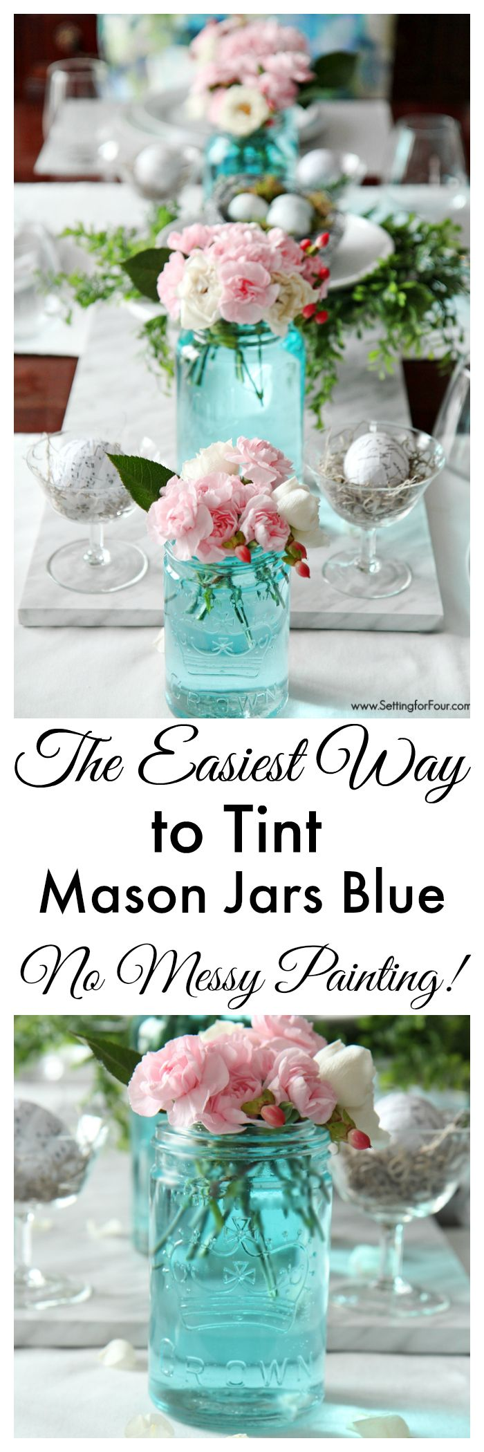 The Easiest Way to Tint Mason Jars Blue - no messy painting! Great idea for weddings, showers, special events and parties! www.settingforfour.com