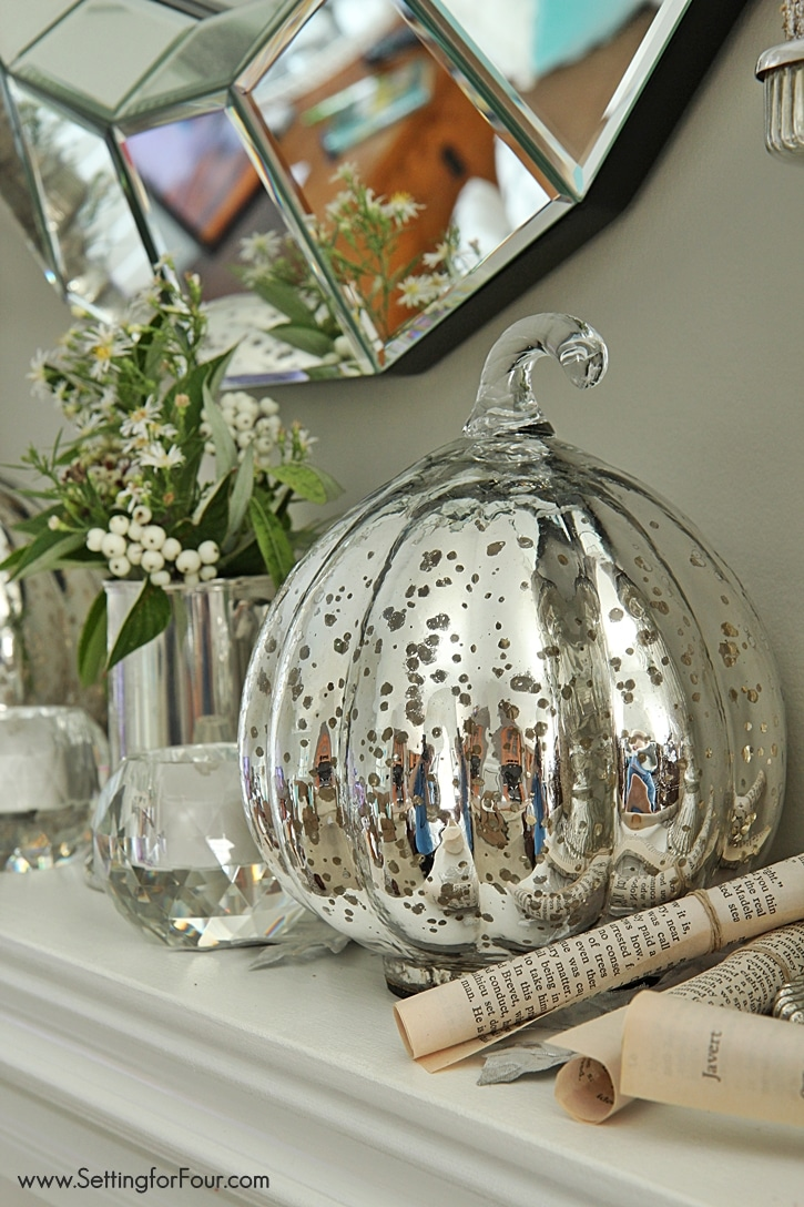 Fall Mantel Decor using Fall Flowers and Foliage Setting for Four – Fall Mantel Decorations