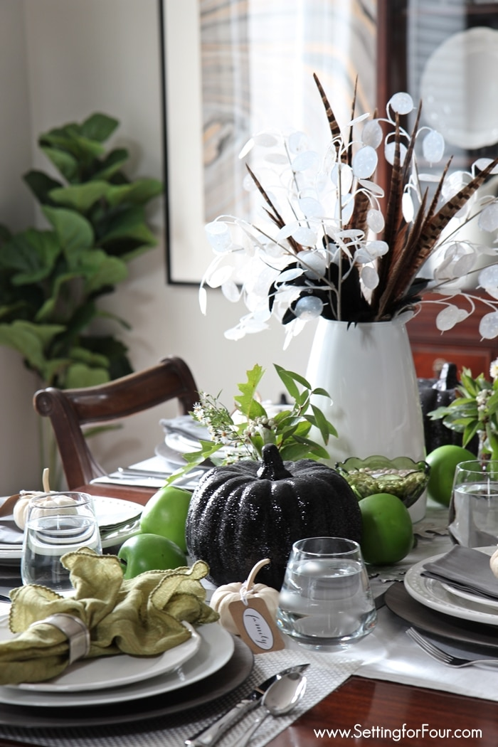 How to add style to your Fall Dining Room! Easy Centerpiece how-to and elegant tablescape decor ideas for your Fall or Thanksgiving table! www.settingforfour.com