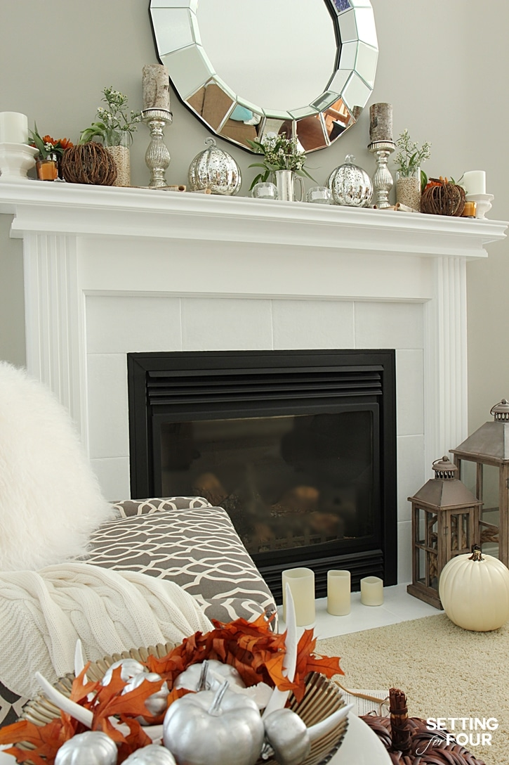 Simple, elegant Fall mantel decorations. See my autumn home decor ideas to add easy fall color and texture to your space. www.settingforfour.com