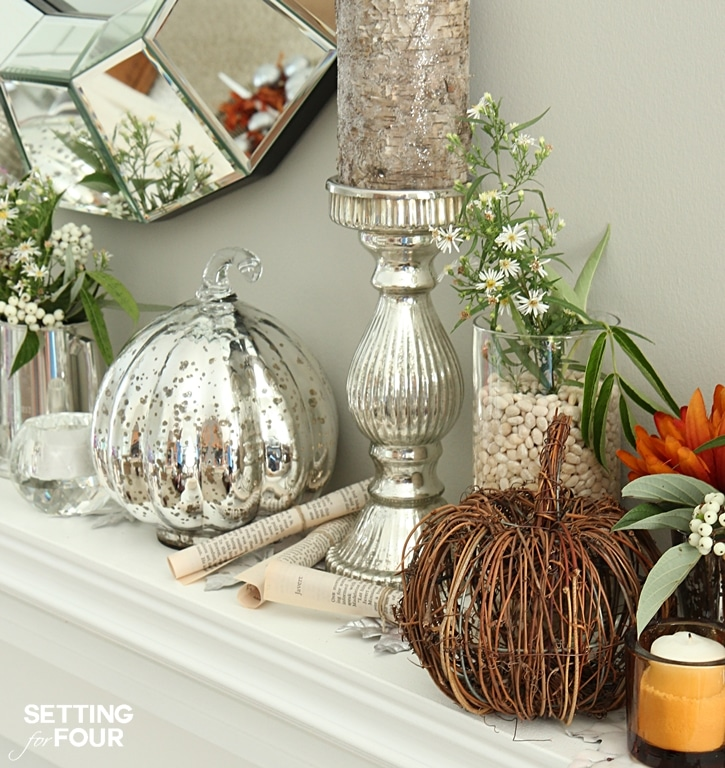 Simple, elegant Fall Mantel Fireplace Decor ideas. How to decorate with natural elements, fall flowers and foliage. www.settingforfour.com