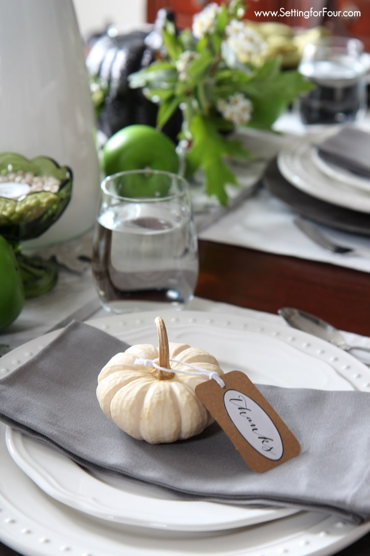 Decorate your Fall and Thanksgiving table, mantel or fill a basket with this easy Pumpkin decor idea with FREE printable tags that say 'Give Thanks for Friends and Family'! www.settingforfour.com