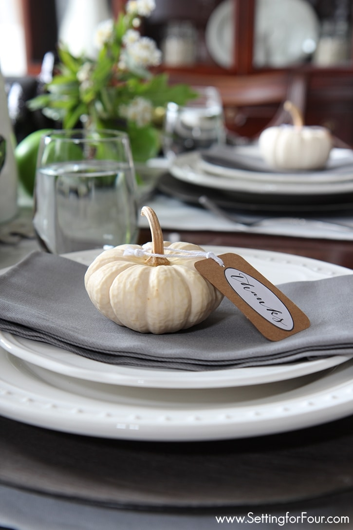 How to add style to your Fall table! How to make an easy DIY Fall centerpiece and elegant pumpkin decor ideas for your Fall or Thanksgiving table! www.settingforfour.com