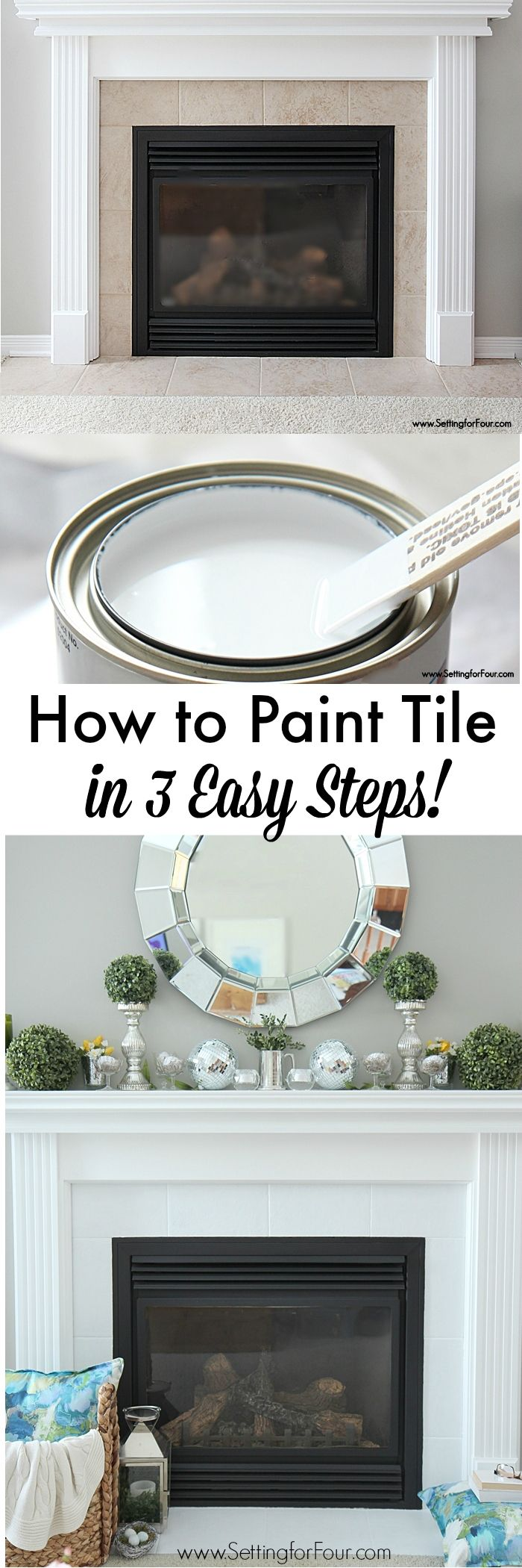 How to Paint Tile in 3 Easy Steps! NO SANDING REQUIRED! Before and After DIY Painted Fireplace Makeover. www.settingforfour.com