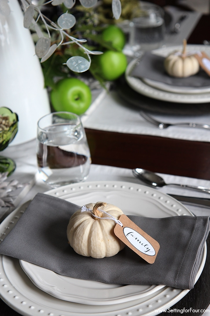 Easy Pumpkin Decor with Printable 'Give Thanks' Tags - perfect for your Thanksgiving Table!