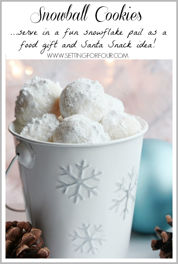 Snowball cookies!! A fun Santa snack idea to make with the kids and great food gift idea! www.settingforfour.com