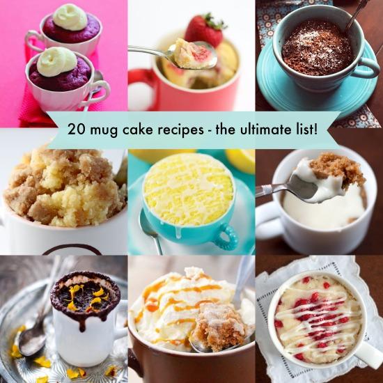 20 mug cake recipes - yummy!