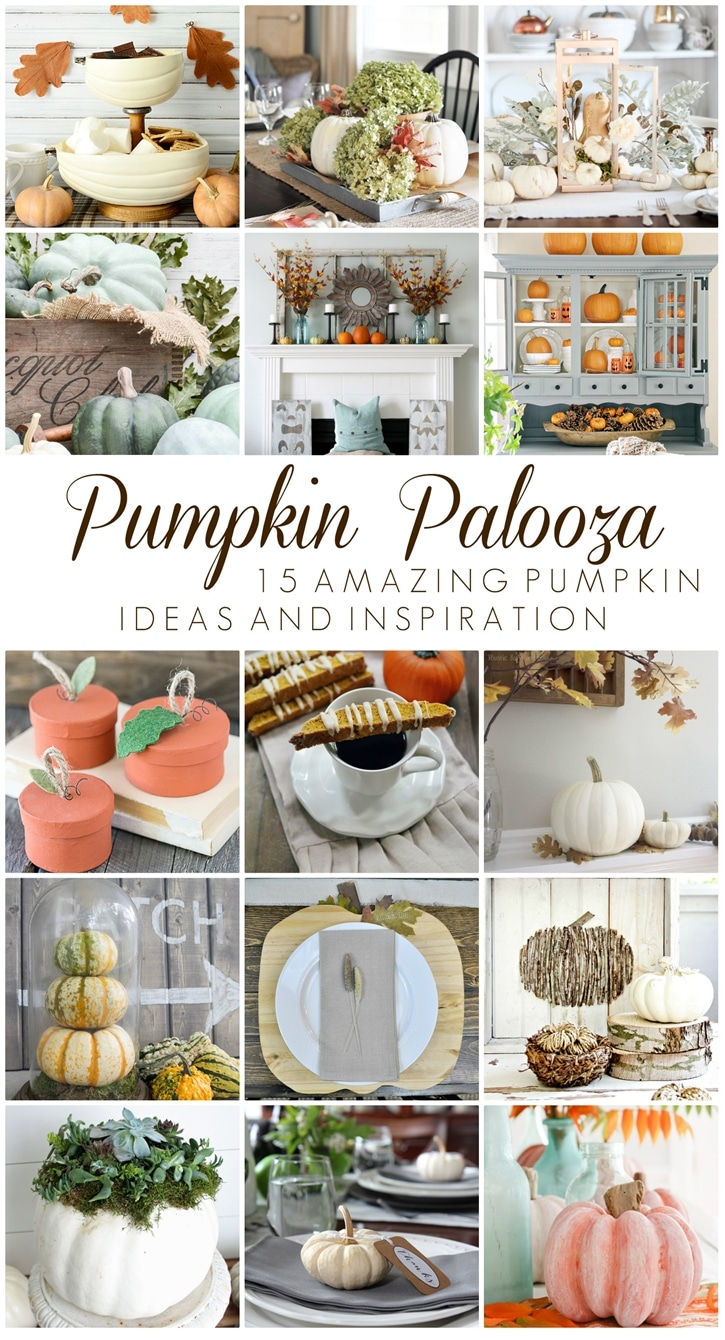 Pumpkin Palooza: 15 amazing PUMPKIN ideas and inspiration. Pumpkin decor, crafts, DIY's and recipes for Fall and Thanksgiving from 15 fabulous bloggers and makers. www.settingforfour.com