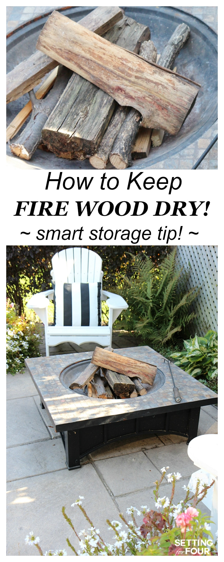 How to keep firewood dry - this is such a smart and inexpensive wood storage tip! www.settingforfour.com