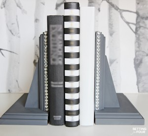 DIY Rhinestone Glam Bookends
