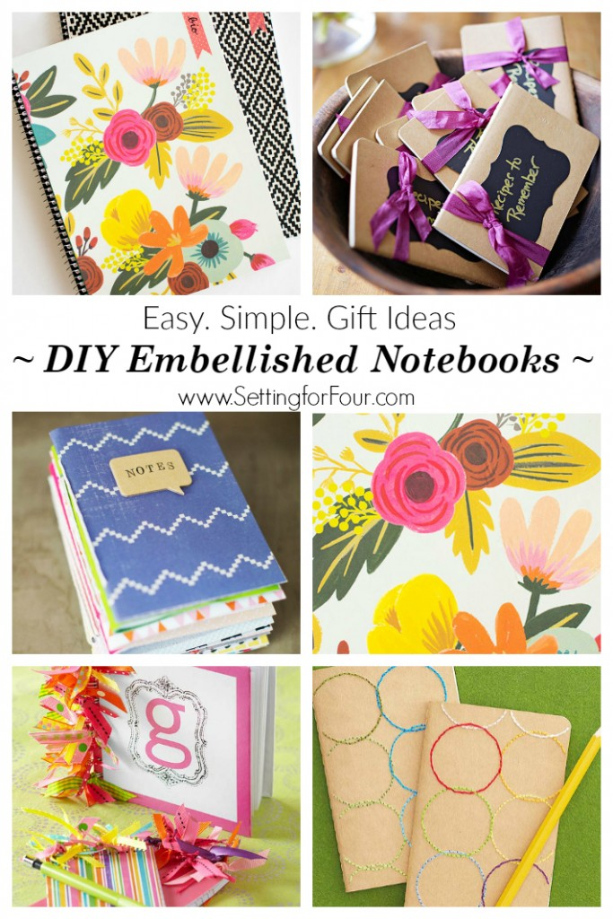 Diy Notebook Ideas Easy Simple Gifts Setting For Four