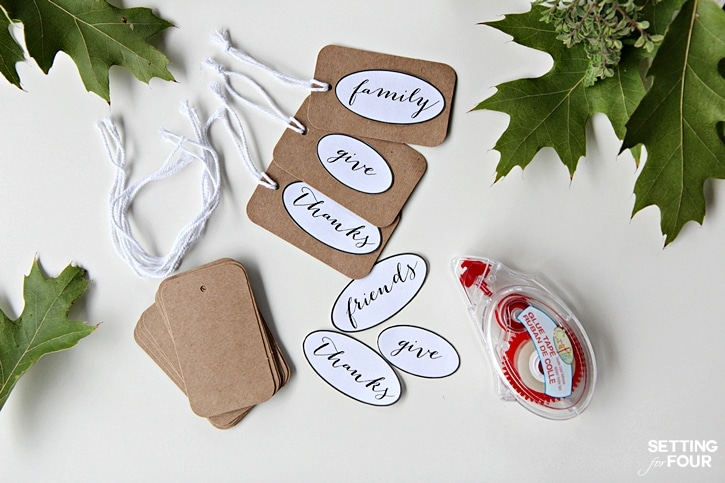 FREE Printable Tags 'Give Thanks for Friends and Family' - pretty decor and gift tag idea. www.settingforfour.com