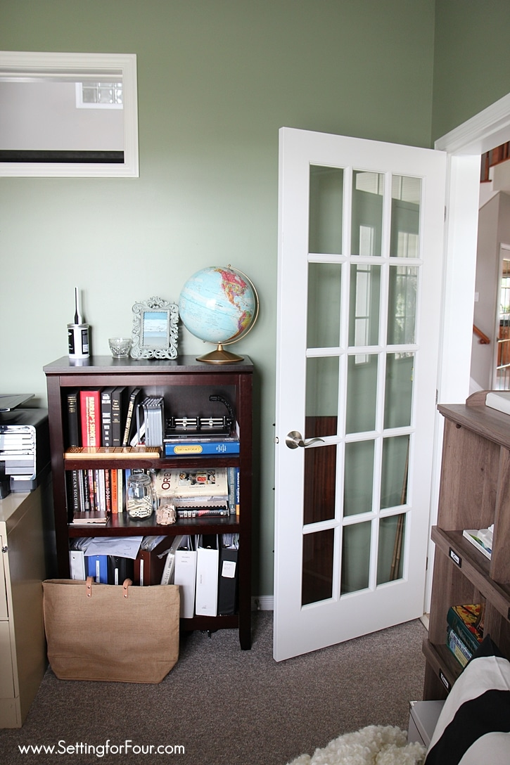 See my Home Office Makeover - before and after photos of the new paint color, new storage and furniture, new room layout and decor! www.Settingforfour.com