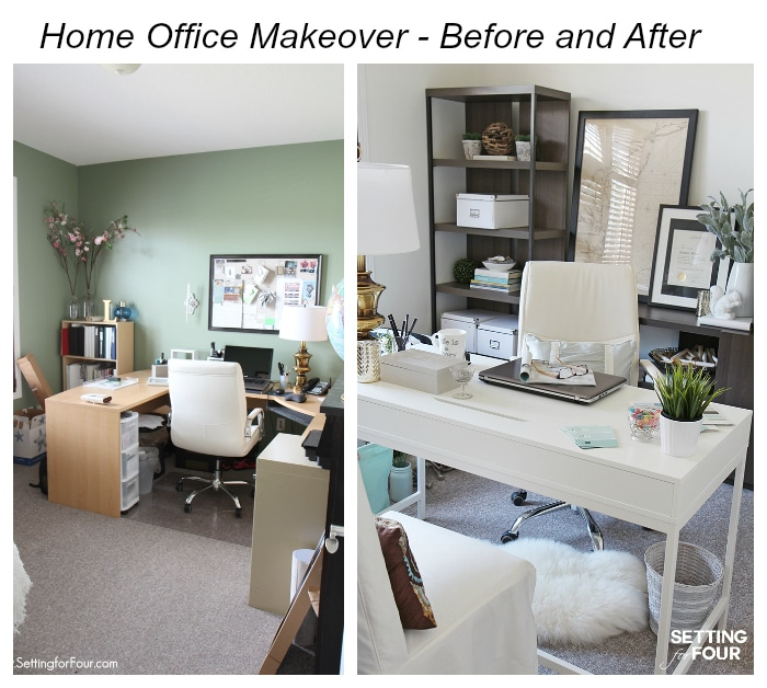 Home Office Makeover - Before and After - Setting for Four