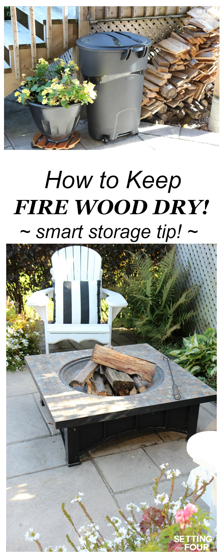 How to keep fire wood dry! Smart storage tip! This is a helpful fire wood storage idea if you have a fire pit, wood burning fireplace or wood stove too! www.settingforfour.com