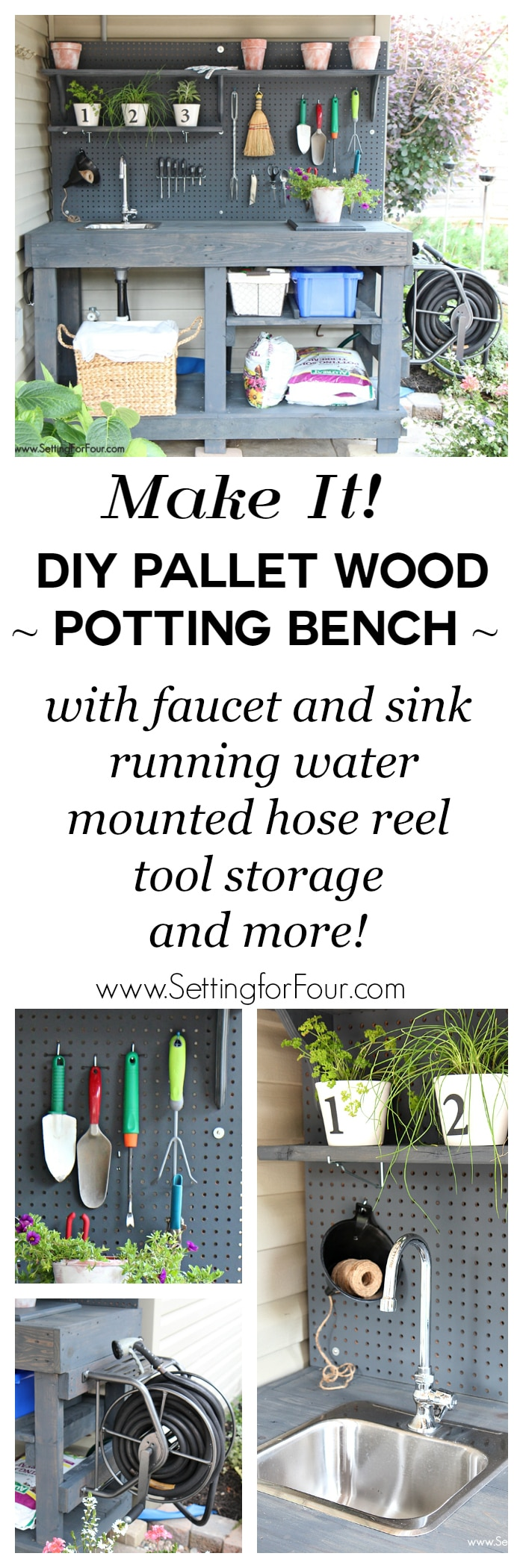 DIY Pallet Wood Potting Bench with storage, faucet, sink and hose!