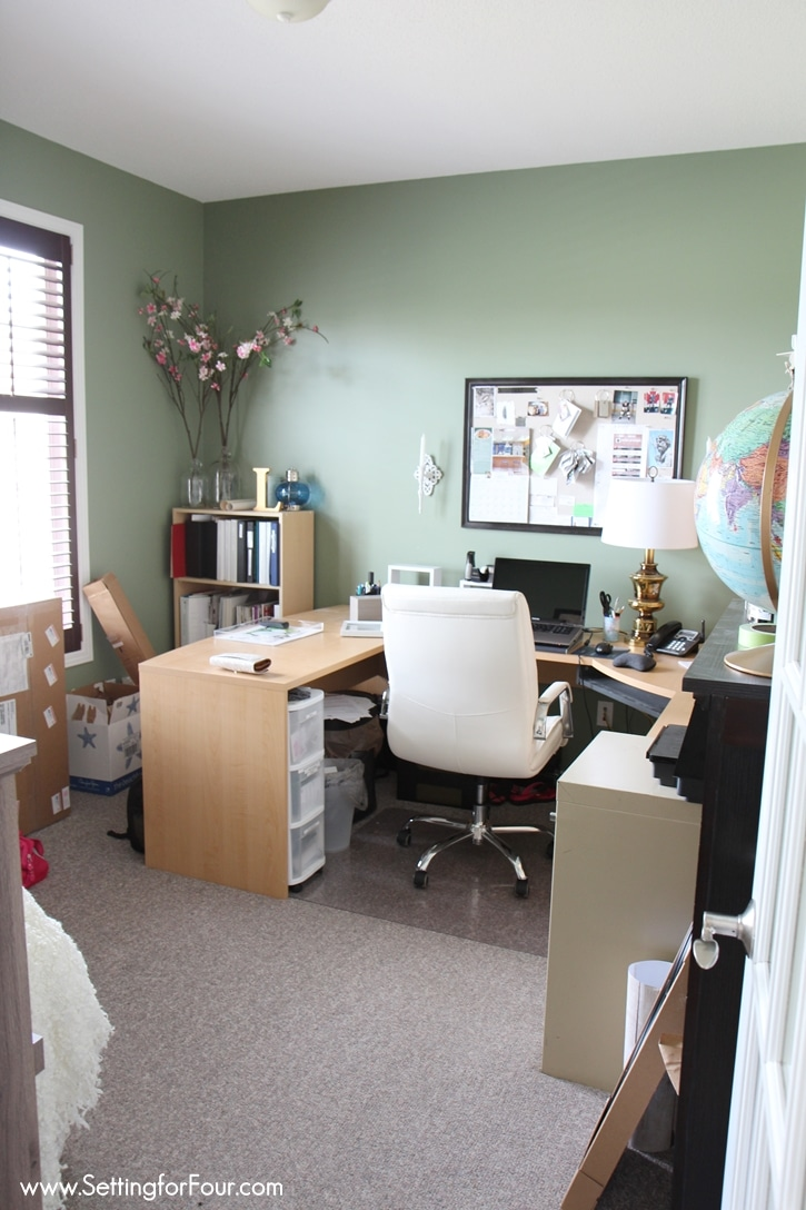 See my Home Office Makeover - before and after photos of the new paint  color,