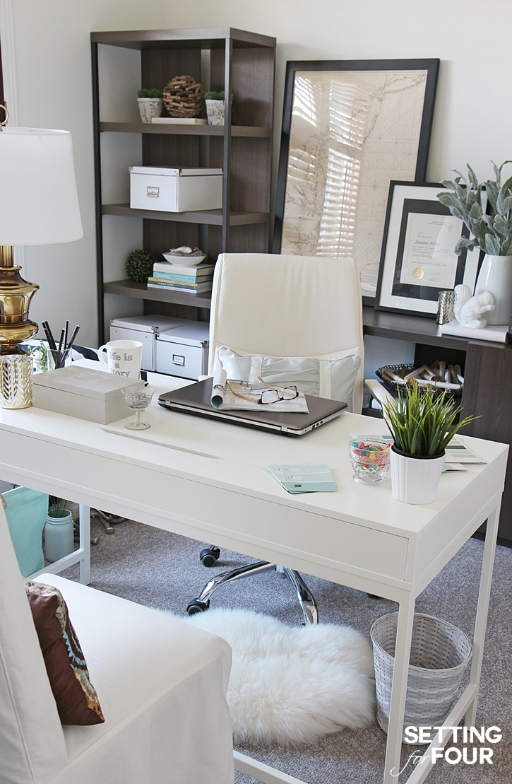 Home office makeover before and after setting for four - Home office decor ideas ...