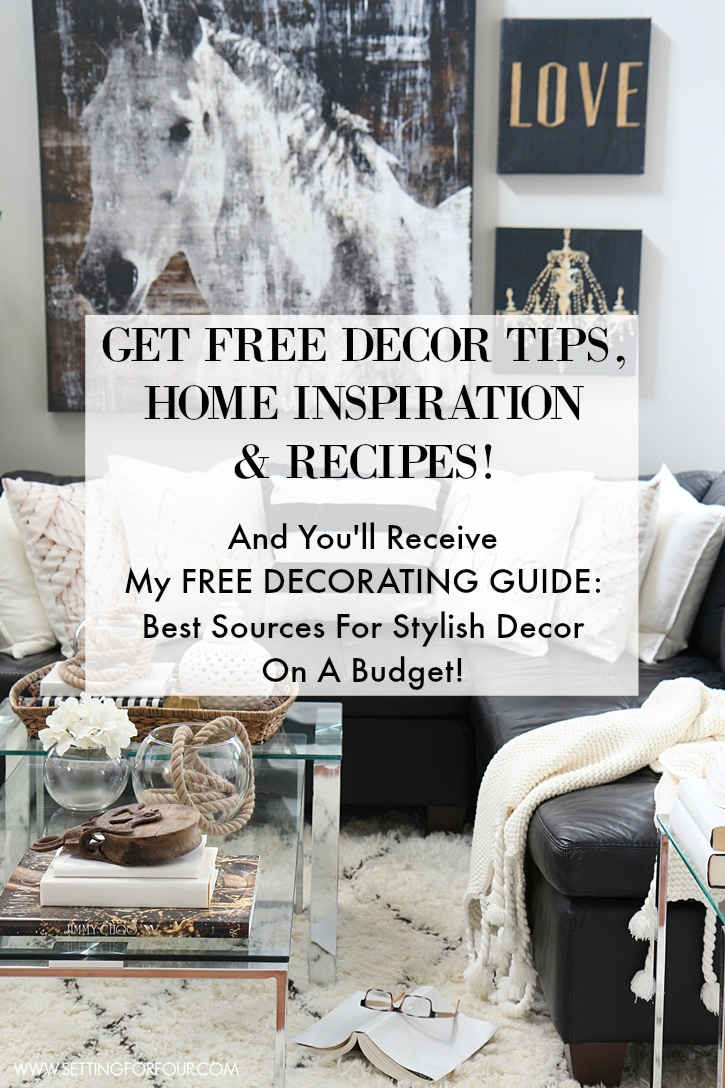 Love FREE decorating ideas, DIY Projects, entertaining tips and Recipes? Sign up to my FREE newsletter to get tons of Home Inspiration! Plus you'll receive my FREE Decorating Guide: Best Sources for Stylish Decor on a Budget!