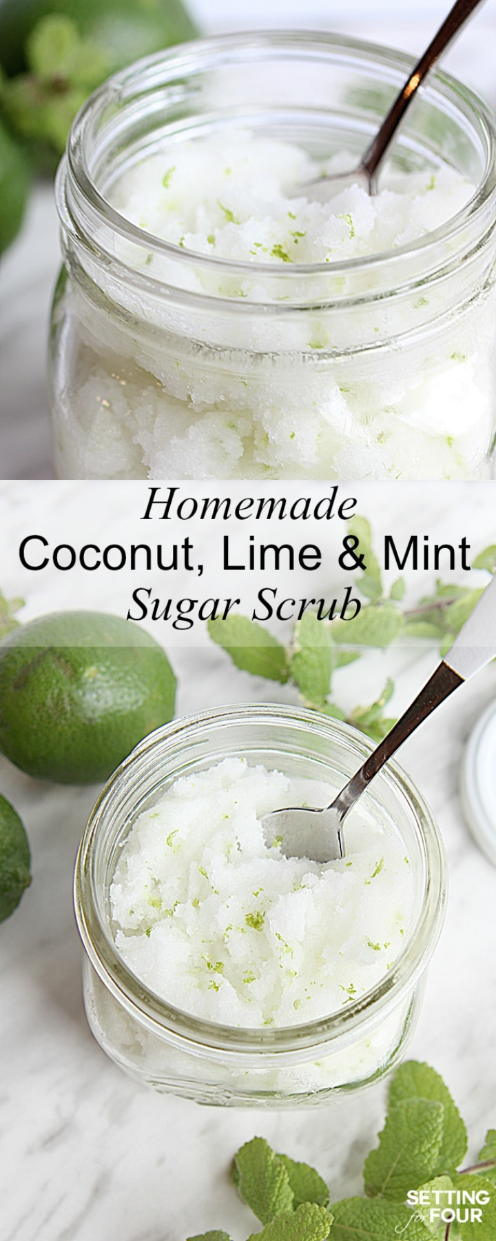Make this amazing DIY Lime Mint Sugar Scrub to paper your skin! Great gift idea too!