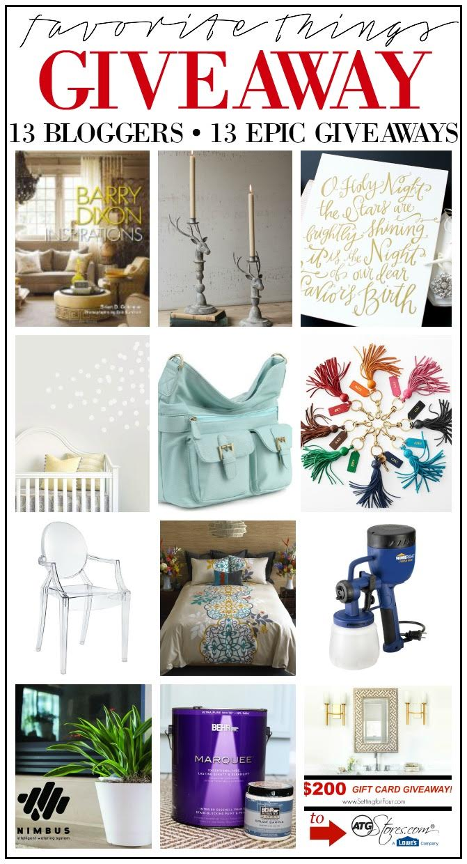 You won't want to miss this! MY FAVORITE THINGS GIFT GUIDES AND GIVEAWAYS! Check off your gift list with 13 creative bloggers EPIC gift guides and giveaways to enter to win lots of amazing things for gifts or for you and your home! www.settingforfour.com