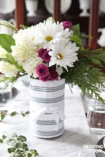 Easy DIY Hostess Gift – Mason Jar of Flowers in a Tea Towel Wrapper