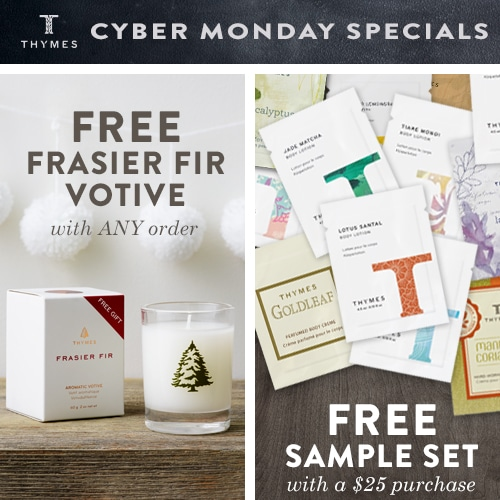 Cyber monday deal extended until end Dec 1 2015! Free Frasier Fir votive and free sample set! Great stocking stuffers and holiday gift ideas!