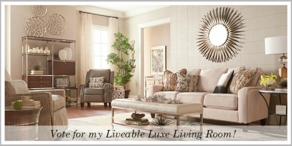 Vote for my Liveable Luxe Living Room in the La-Z-Boy Design Dash contest and enter to win $10,000! www.settingforfour.com