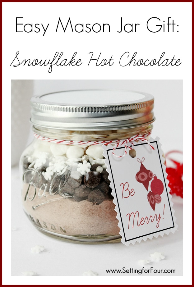 So incredibly quick to make and ADORABLE! Easy Mason Jar Gift idea - Snowflake Hot Chocolate in a jar. www.settingforfour.com