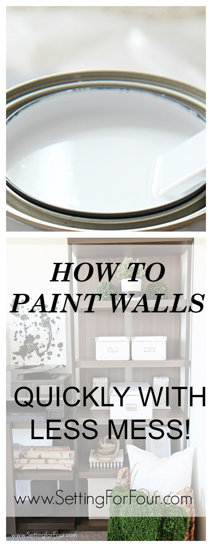 Love this helpful Painting tip! How to paint walls quickly with less mess! www.settingforfour.com