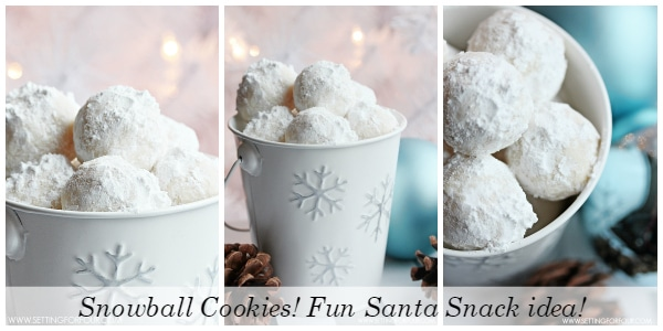 Snowball Cookie Recipe! This is a fun food gift and Santa Snack idea! www.settingforfour.com