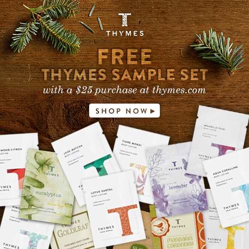 It's never too early to start holiday planning! Get your free Thymes Sample Set and celebrate the Holidays with Thymes fragrances! Festive ways to decorate your home and beautiful holiday gift ideas. www.settingforfour.com