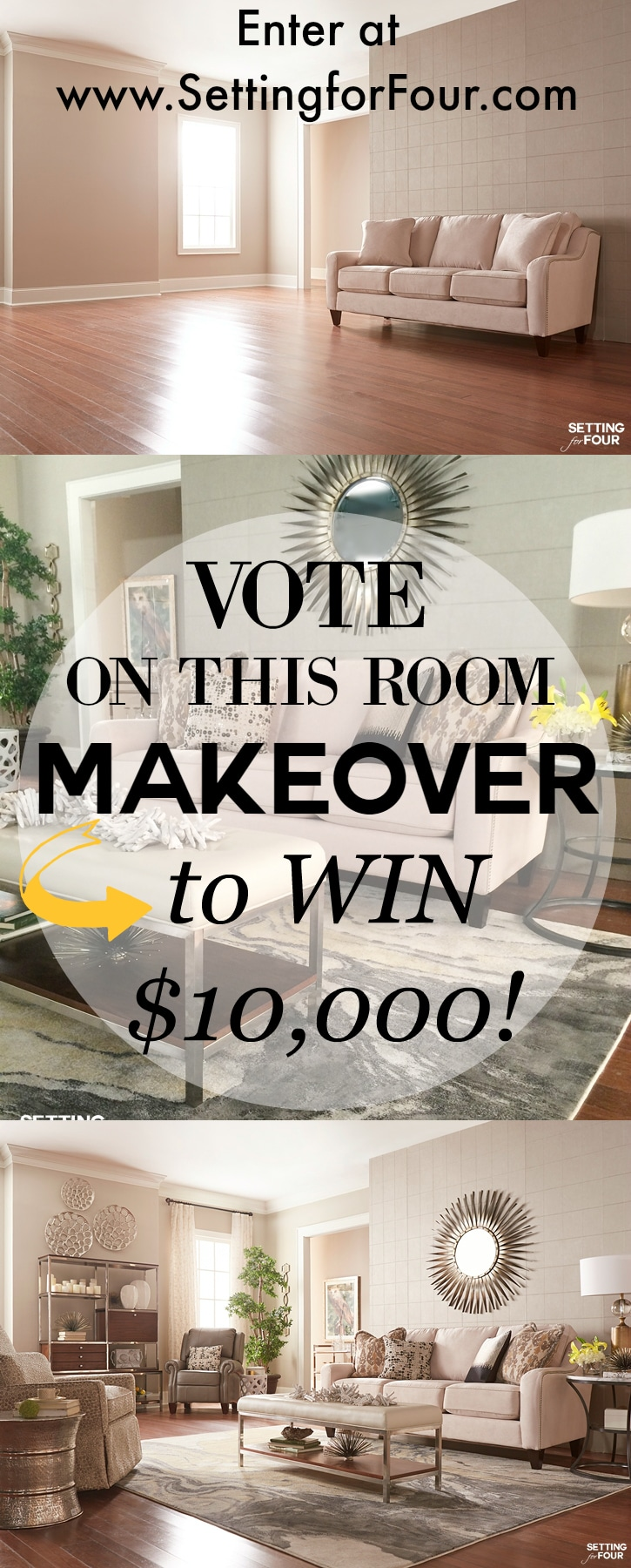 Ready to get a beautiful room? Vote on this Room Makeover for a chance to win $10,000 La-Z-Boy furniture! WOW! www.settingforfour.com