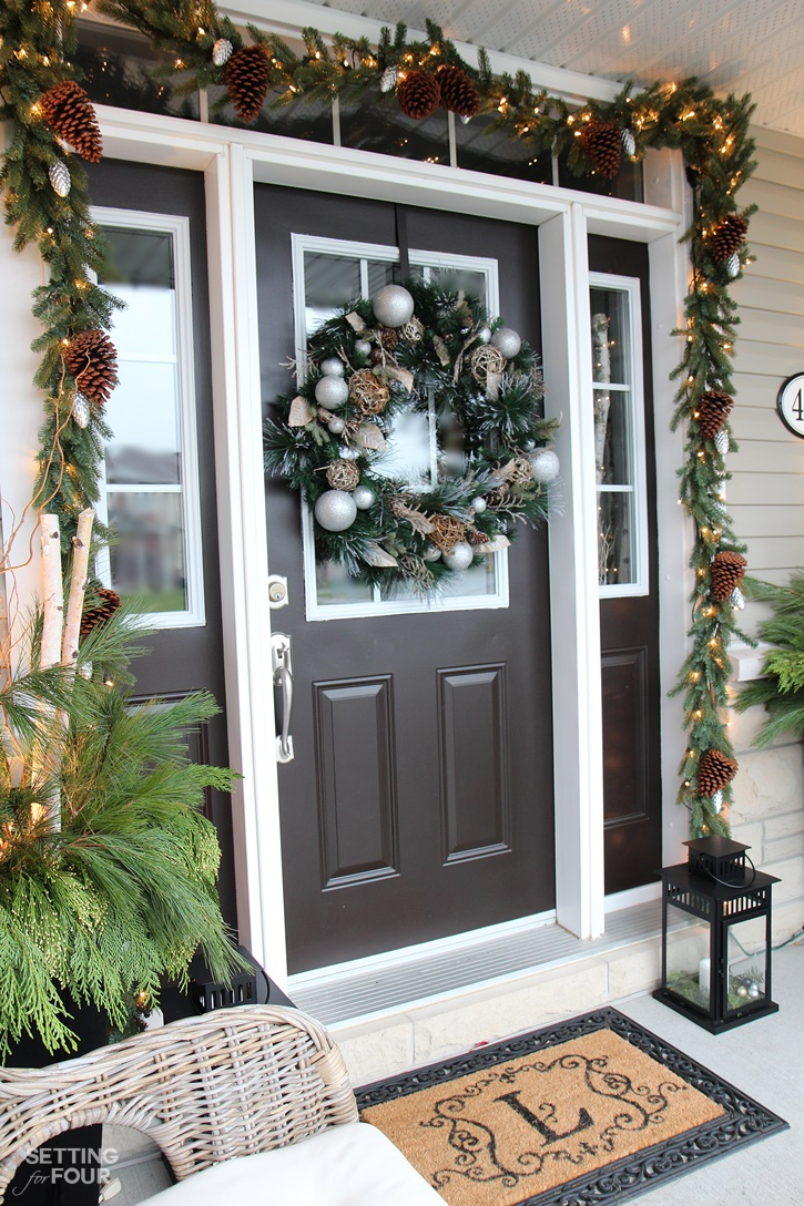 Welcome to my Woodland Chic Christmas home tour with Country Living Magazine! See my Christmas entryway and get tons of decor ideas using glam, shimmer, metallics and shine mixed with lots of natural elements, woodland icons and neutrals! www.settingforfour.com