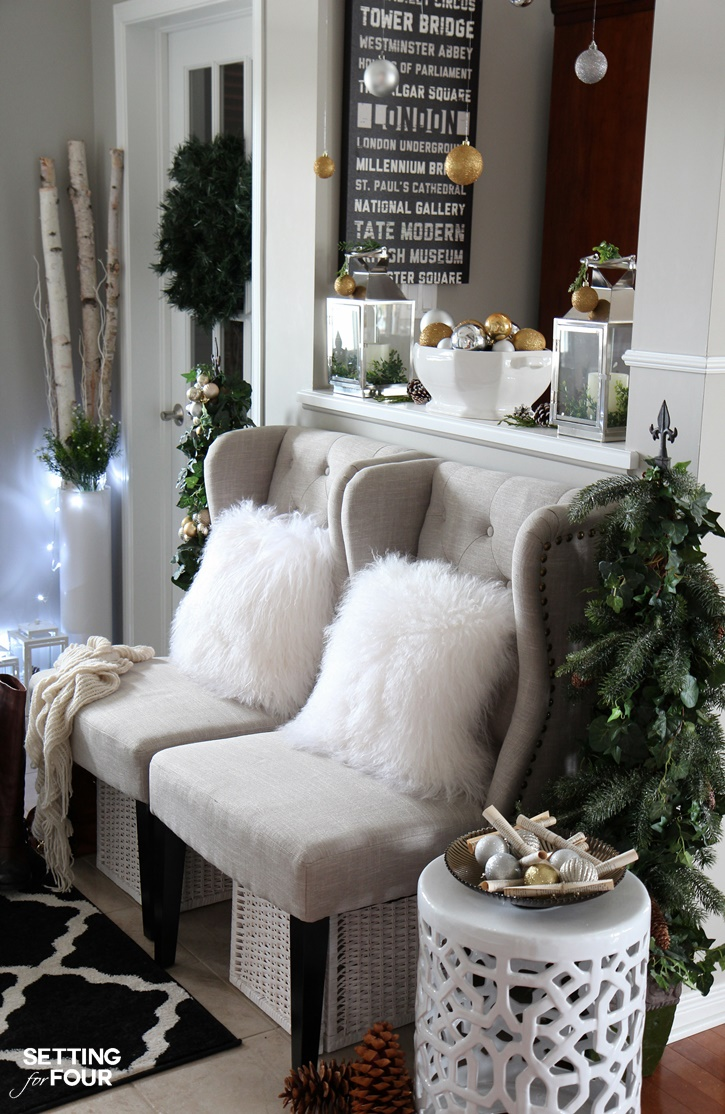 Welcome to my Woodland Chic Christmas home tour with Country Living Magazine! See my Christmas foyer and get tons of decor ideas using glam, shimmer, metallics and shine mixed with lots of natural elements, woodland icons and neutrals! www.settingforfour.com