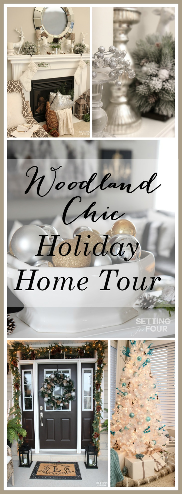 Welcome to my Woodland Chic Christmas home tour with Country Living Magazine! Get tons of decor ideas using glam, shimmer, metallics and shine mixed with lots of natural elements, woodland icons and neutrals! www.settingforfour.com