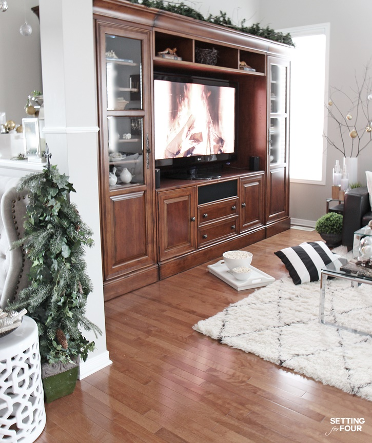 Welcome to my Christmas home tour! Get tons of decor ideas using metallics and shine mixed with neutrals and see my family room decorating ideas! www.settingforfour.com