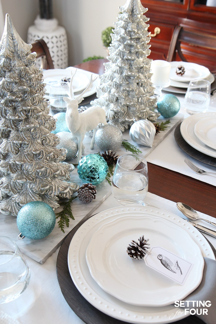 Welcome to my Christmas home tour! Get tons of decor ideas using metallics and shine mixed with neutrals and see my dining table top decorating ideas! www.settingforfour.com