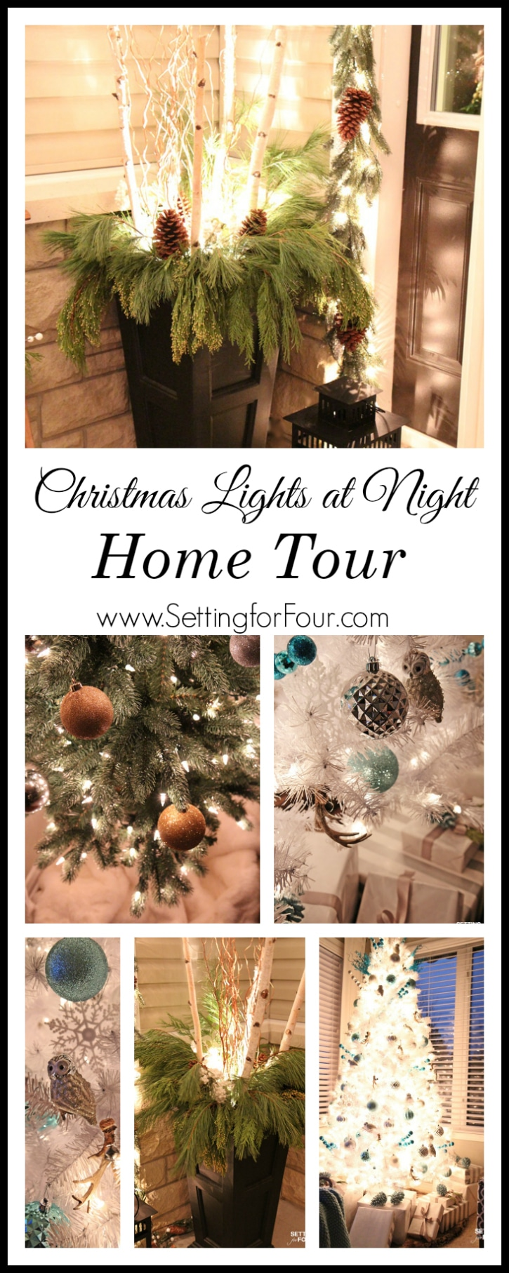 See this gorgeous Christmas Lights at Night Home Tour! This design bloggers shares decor tips and her home all lit up at night!