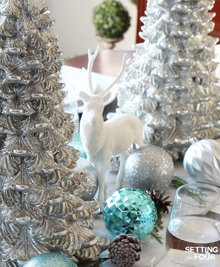 Welcome to my Christmas home tour! Get tons of decor ideas using metallics and shine mixed with neutrals and see my dining table centerpiece decorating ideas! www.settingforfour.com