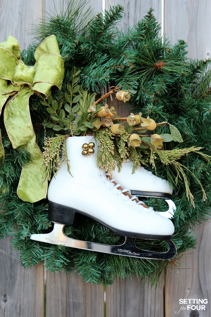 learn how to make this easy beautiful diy ice skate wreath to add festive decor - Ice Skate Christmas Decoration