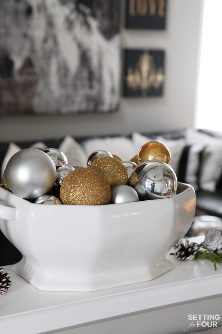 Welcome to my Woodland Chic Christmas home tour with Country Living Magazine! See my Christmas centerpiece idea and get tons of decor ideas using glam, shimmer, metallics and shine mixed with lots of natural elements, woodland icons and neutrals! www.settingforfour.com