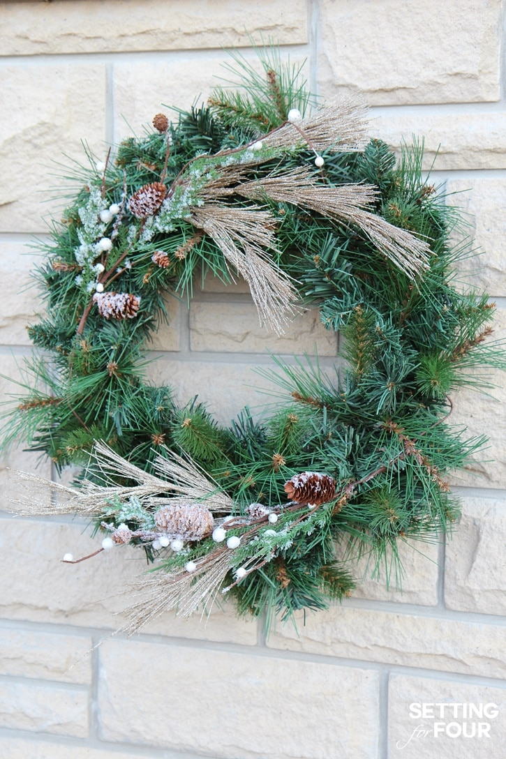 DIY Glam Pine Wreaths make great holiday cheer outdoor Christmas decorations! www.settingforfour.com