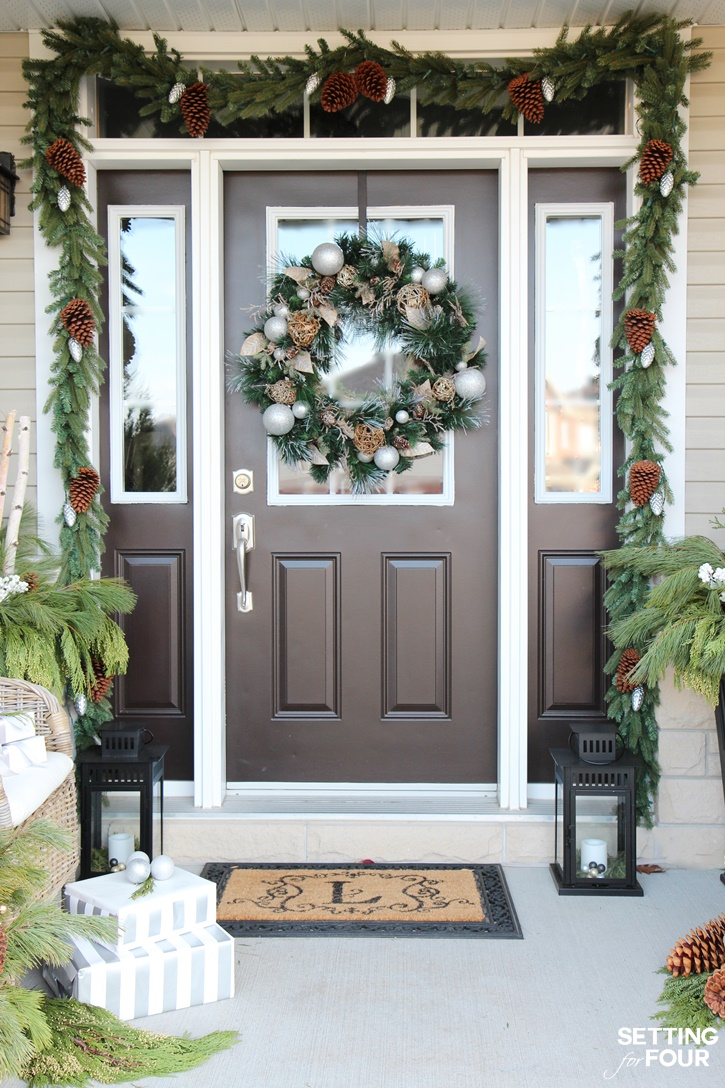 Holiday cheer outdoor christmas decorations setting for four for Outside foyer designs