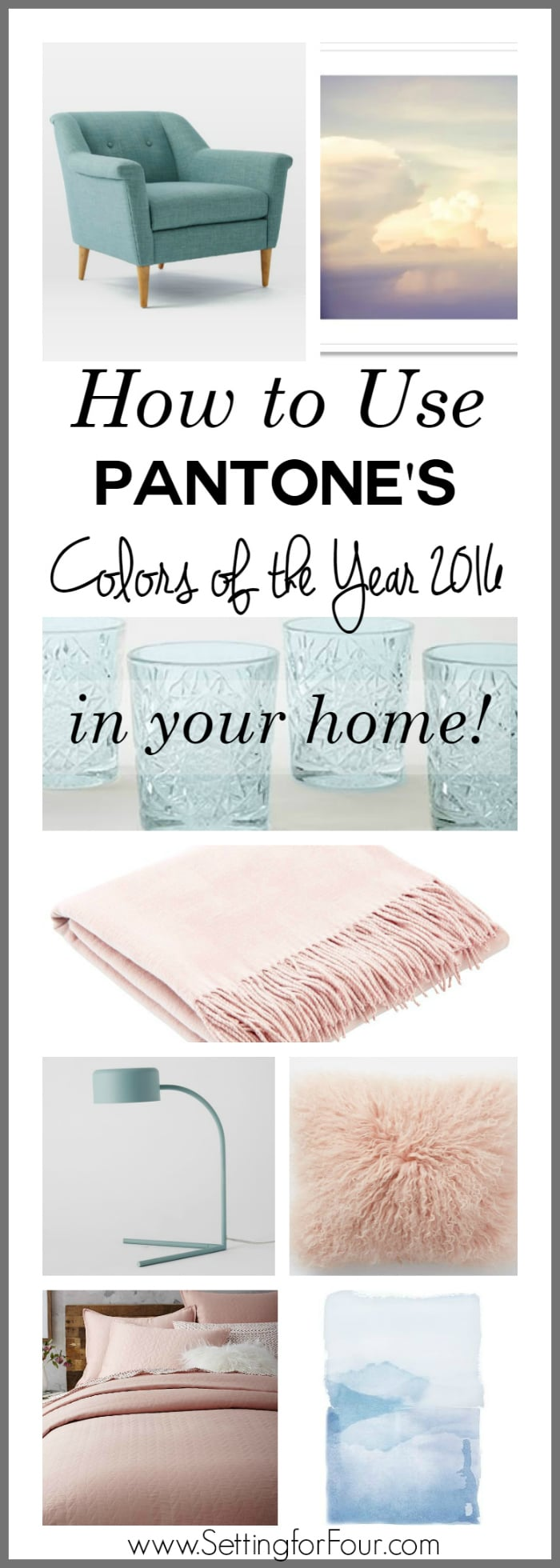 How to use Pantone's Colors of the Year 2016 Rose Quartz and Serenity in your home - decor ideas that work! www.settingforfour.com