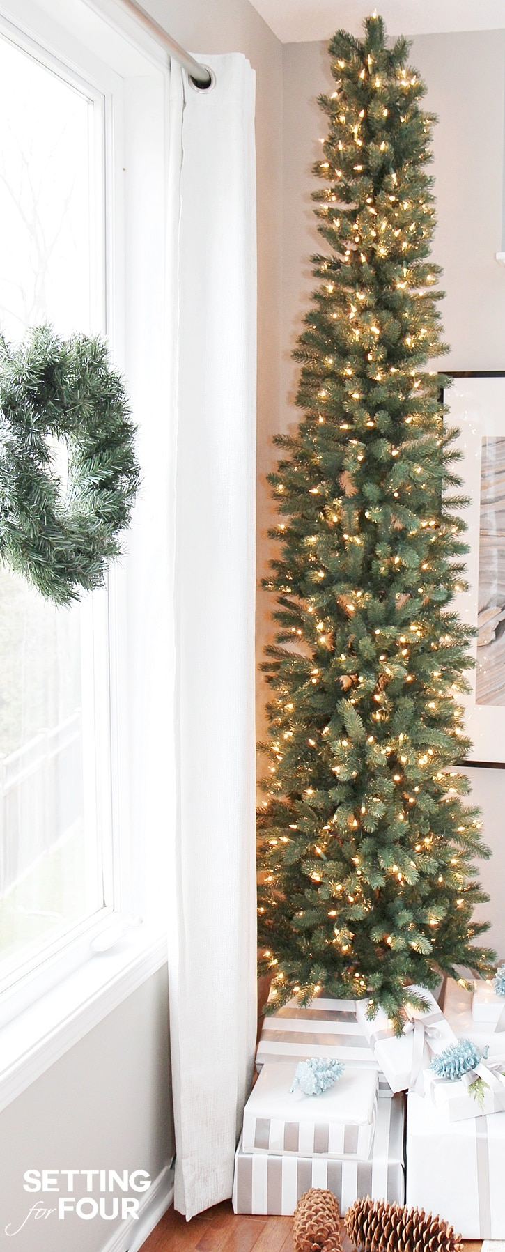 see how you can decorate any narrow spot in your home with a pencil christmas tree - Decorating A Pencil Christmas Tree