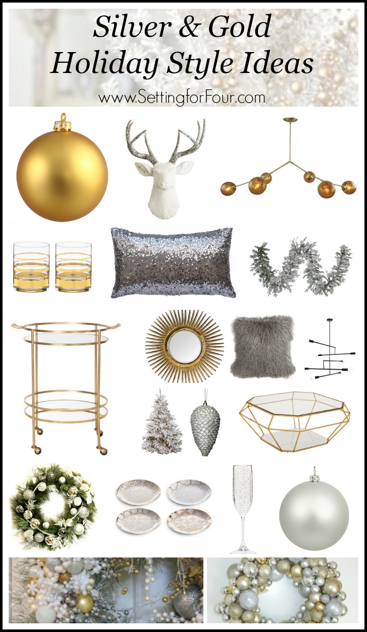 Silver and Gold Holiday Style Ideas - See how you can add a refreshing elegant look to your home decor for Christmas by mixing silver and gold metallic colors. Gone is the belief that you can't mix metallics - you can! www.settingforfour.com